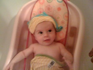 We have a ton of fun at bath time. Sometimes we pretend I'm a pirate.