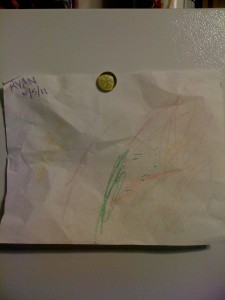 Ryan's first school art on the fridge! A parental milestone extraordinaire.